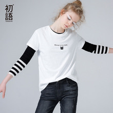 Toyouth 2016 New Arrival Women Summer T-shirt Casual Letter Print Cat Logo Embroidery Shirt Female Cotton O-Neck Top