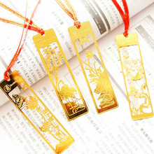 10 pcs/lot Classical Chinese Style Metal Bookmark Merlin Bamboo Chrysanthemum Plum Orchid Vintage Book Marks Gifts