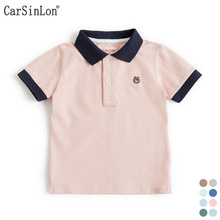 2017 Summer High Quality Cotton Solid Colors Turn-down Collar Short Sleeve Embroidery Baby Boys Polo Shirt Kids Tops Sports Tees(China)