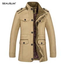 SEAUSLIM Men Jacket Coat Jaqueta Masculina Veste Homme Fashion Coat Casual Fit Overcoat Jacket Outerwear 6XL LQ-TH-07