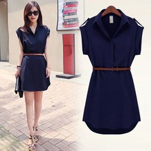 New Summer Fashion Female Short - Sleeved Solid Dress Women Loose Chiffon Dress(China)