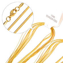 2mm Factory Price Free Shipping Gold 2mm Snake Necklace Chain Fashion Stainless Steel Jewelry Chains