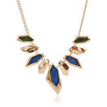 DIANYAA Fashion magazine section all-match geometric color Necklace accessories Necklace for women