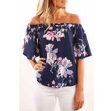 Sexy Off Shoulder Beach Blouse Women Floral Tops Slash Neck Flower Print Summer Women Blouse Shirt Party Tube Top Women Clothing(China)