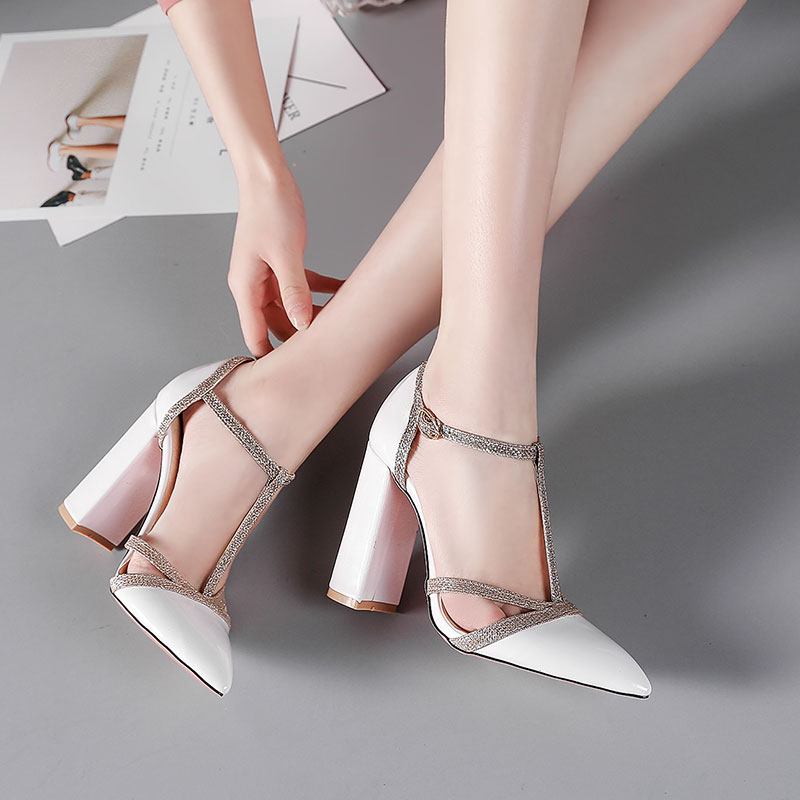 Lasyarrow Thick High Heels Wedding Shoes Gladiator Shoes Woman T-strap  Dress Pumps Cut Outs Sexy Pointed Toe Party Shoes RM234 49902f814ef9