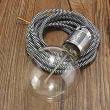 3 Meter E27 3 Core Wire Vintage Edison Lampholder Fabric Flexible Cable Pendant Lamp Light Bulb Holder Socket