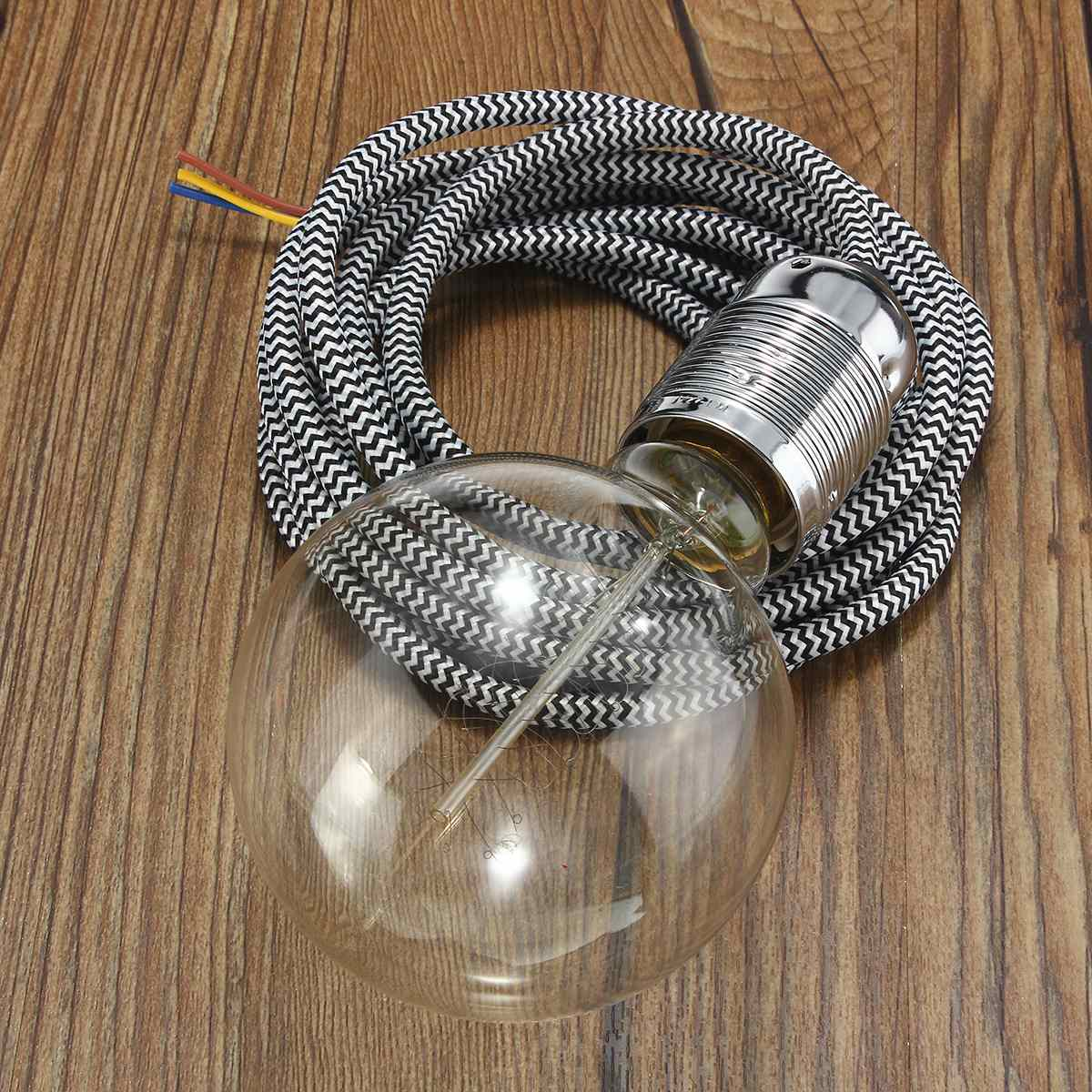 3 Meter E27 3 Core Wire Vintage Edison Lampholder Fabric Flexible Cable Pendant Lamp Light Bulb Holder Socket(China (Mainland))