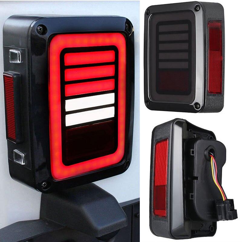 2PCS Car LED Rear Tail Brake Turn Signal Reverse Light Red/White Lamp For Jeep Wrangler JK 2007-2016 American Standard Plug