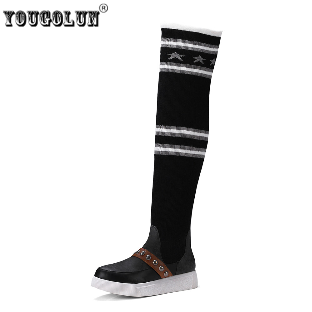 YOUGOLUN women over the knee boots woman autumn winter thigh high boots ladies wool socks warm plush 2017 black gray flat shoes<br>
