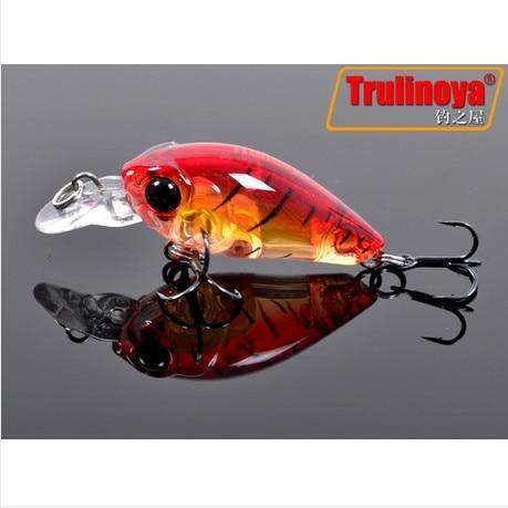 Trulinoya Fishing Lure DW24 35mm 3.5g 1.2m Mini Crank Fishing Lures Hard Bait Lure with Hooks Red/Green/Blue/Black 4