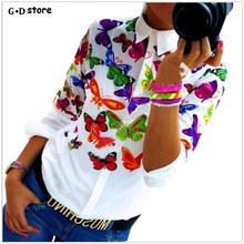 Blusas Women Blouses white fashion Butterfly Chiffon blouse plus size body Tops Long Sleeve Shirt Casual blusa feminino