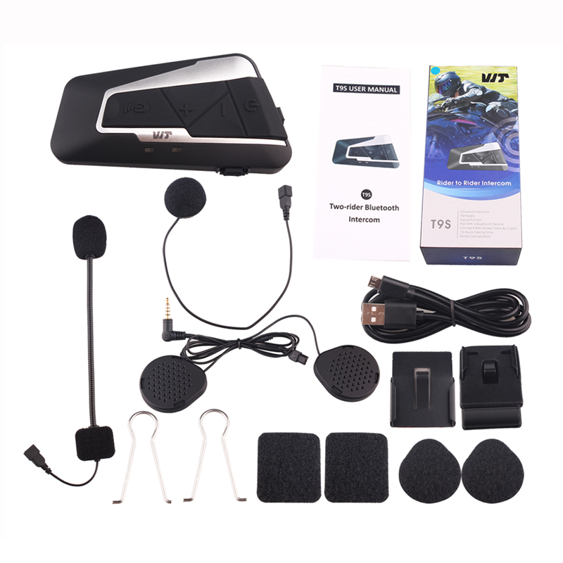 2pcs Fodsports T9S Intercom Helmet Headsets Motorcycle Bluetooth Interphone Waterproof Wireless communication with FM function