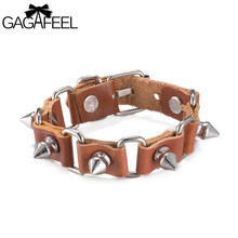 GAGAFEEL Punk Leather Bracelet Men Women Jewelry Rope Chain Charm Wrap Bangle Bullet/Sunflower/X nail Shape Design Gift For Lady