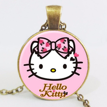 Vintage European Steampunk Hello Kitty  Dome Necklace Chain Cartoon Retro  Art Photo Pendant  For Man Woman LY832