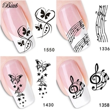 Bittb 1PC Nail Art Decoration Black Butterfly Musical Symbol Nail Art Adhesive Decals Makeup Tool Foils Manicure Nail Sticker(China)