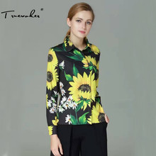 Truevoker Spring Designer Blouse Women's High Quality Turn Down Collar Long Sleeve Big Sunflower Printed Shirt