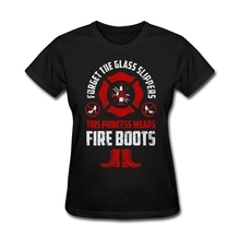 Women's tshirt with Firefighter - Forget the glass slippers This princess wears Fir Patriotic t-shirt Maker for GF Red Basic Tee