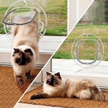 Innovative Newest Pet Supplies Glass Door Opening for Cats Dogs Gates Door Lockable Safe Flap Door Pet Products 2018 Newest(China)