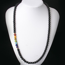 Black Onyx 8MMM Beads Necklace Women 7 Chakra Multicolor For Wisdom Natural Stone Yoga Meditation Necklace,Christmas Gifts