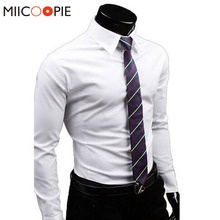 Men Shirts Brand Casual Long Sleeve Chemise Homme Solid Business Cotton Camisa Social Masculina Men Slim Fit Dress Shirts 3XL(China)