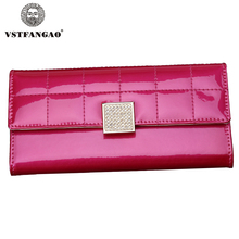 designer new fashion women wallets Female walltes brand top quality Genuine leather Rhinestone lady purse long black Rose wallet(China)