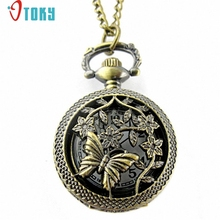 OTOKY Hot Unique   Retro Bronze Butterfly and Flower Openwork Cover Pocket Quartz Watch Drop ship F12