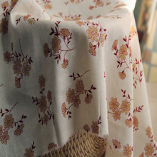 Coreopsis tinctoria Flowers Vintage Linen Clothing Fabric Tablecloth Fabric Beige DIY Material Fabric