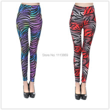 2015 New Arrive sexy Ninth pants For Women Europe and the United States Sexy mirco fiber Color zebra printed Legging one size(China)