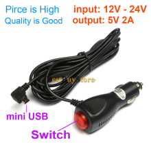 New mini USB Car Charger Adapter for Car DVR Camera / GPS / Pad, input DC 12V - 24V Output 5V 2A, Cable Length 3.5m 11.48ft