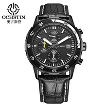 OCHSTIN brand man wristwatch black blue brown genuine leather luxury mens watch calendar waterproof Chronograph Citizen movement(China)