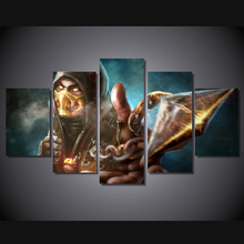 5 Pieces Mortal Kombat X Scorpion Modern Poster Oil Painting on Canvas Pictures For Living Room Top-rated Modular Wall Paintings