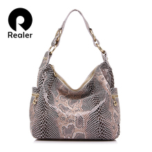 REALER brand women shoulder bag hobos serpentine genuine leather bag fashion handbags women famous brands 2017