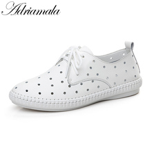 Buy Adriamala Women Hollow Shoes Lace Casual Flats Shoes Ladies Breathable Cowhide Lofers 2017 Summer New Split Leather Shoes for $22.27 in AliExpress store