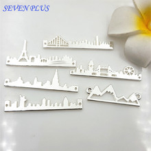 10 Pieces/Lot 48mm Shiny Silver Plated Diy Jewelry Making Paris Washington Las Vegas City Buildings Connector Charms(China)