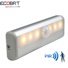 ECOBRT-Free Shipping SMD3528 LED IR Infrared Motion Detector Sensor Closet Cabinet Light Lamp Wireless Using AAA battery lights(China)