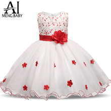 Ai Meng Baby Red Flowers Tutu Dress For Girl Wedding Little Princess Children's Girl Costume For Kids Tulle Formal Party Dresses