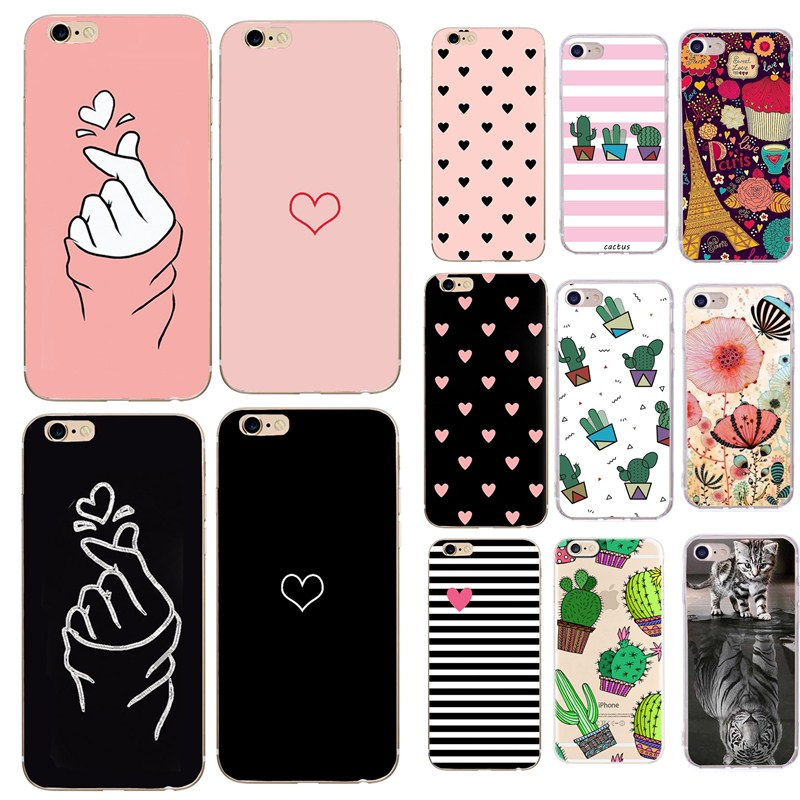 Soft TPU Phone Case For iPhone 6S Case Silicone Pink Black Simple Back Cover For iPhone 7 6 6S 7Plus XS 5 5S SE X 8 Case(China)