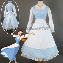 Customized Movie Beauty and the Beast Princess Belle Blue Maid Apron cosplay costume  Adult Women Halloween dress
