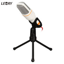 LEORY High Quality Microphone Professional Wired Mic Stereo Condenser Microphone With Stand for Radio Braodcasting Singing