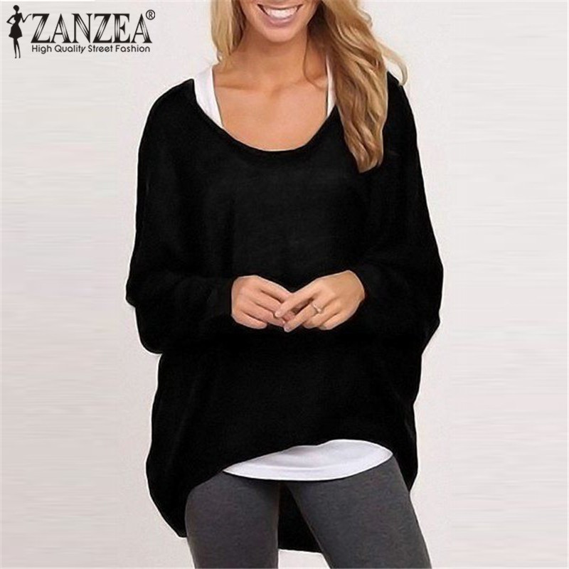 ZANZEA Fashion Women Blouses 2017 Spring Autumn O-neck Long Batwing Sleeve Casual Loose Solid Tops Shirts Tee Blusas Plus Size