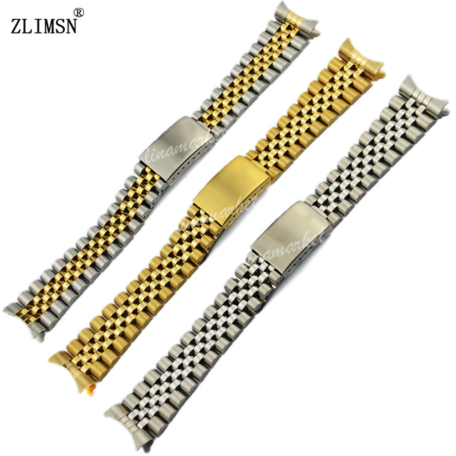ZLIMSN Watchbands 13mm 17mm 20mm Silver Gold Rose Gold Stainless Steel Watch Band Bracelets Curved end Watchband ROL203<br><br>Aliexpress