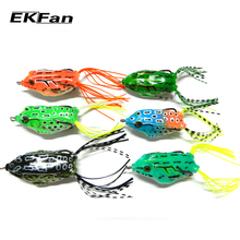 6pcs Soft Tube Bait Plastic Fishing Lures Frog Lure Treble Hooks Topwater Ray Frog 5.5CM 12.5G Artificial Soft Bait