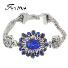 FANHUA  Vintage Style Antique Silver Color Blue Green Rhinestone Flower Charm Bracelet For Women Factory Price Pulsera