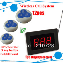 Freeshipping Electronic Waiter Pager Wireless caller system of 12 caller button and 1 display receiver