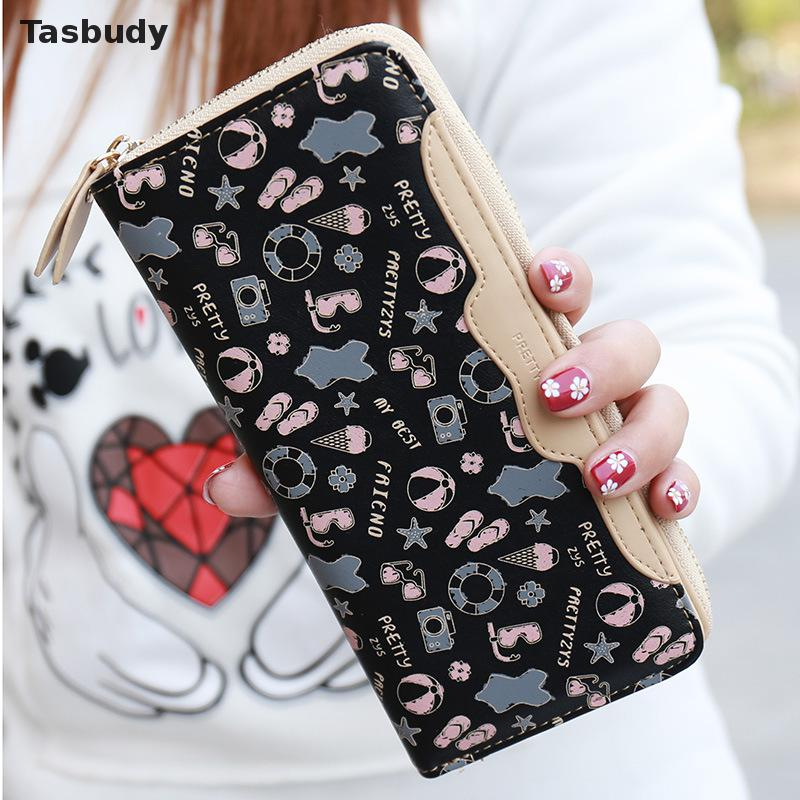 Fashion printing women wallet long zipper brand new 2017 wallet female money bag large capacity women purse with card holder<br><br>Aliexpress