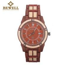 b7fd2eba8d3 Homens Relógio De Metal Relógio De Madeira BEWELL Com Display Digital de  Tempo Relógio de Negócios Presente Configuração Acessór.