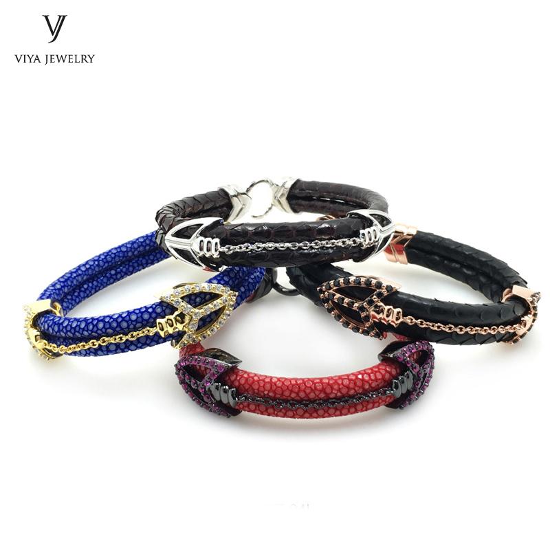 lucury stingray leather cords arrow bracelet (19)