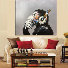 Hand Painted Animal Monkey Wall Art Picture Oil Painting Modern Funny Thinking Monkey with Headphone Wall Art for Living Room