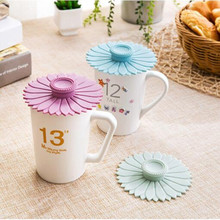 Cute Anti-dust Silicone Glass Cup Cover Reusable mug coffee cup lid Bar tableware Seal Lid Cap kitchen accessories