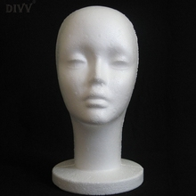 DIVV Art Female Model Head Display Female Styrofoam Mannequin Manikin Head 1Pc